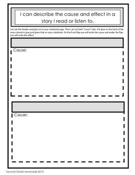 Cause and Effect - Interactive Notebook page, Anchor Chart and Worksheets