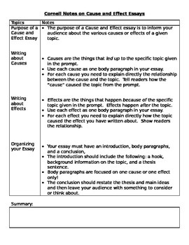 Cause and Effect Introduction Notes- Cornell Style