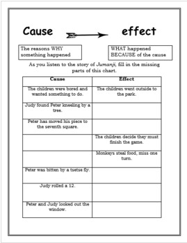Cause and Effect Jumanji and Tall Tale Activity