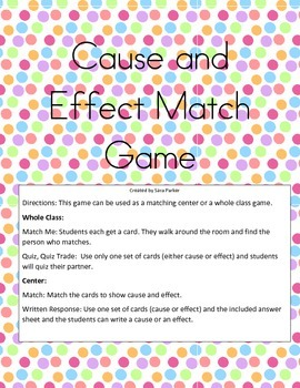 Cause and Effect Match Game