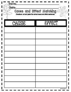 Cause and Effect Matching Activity