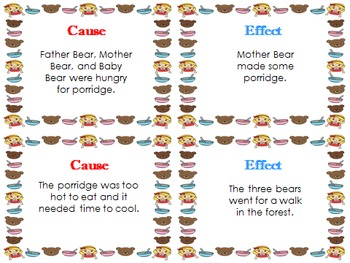 Cause and Effect Matching Cards with Goldilocks and The Three Bears