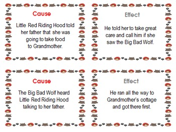 Cause and Effect Matching Cards with Little Red Riding Hood
