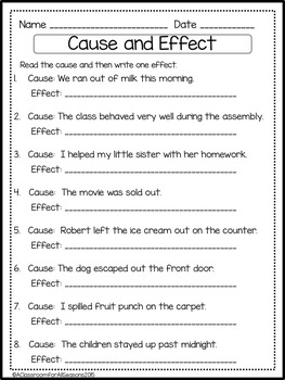 Cause and Effect Worksheets and Activities