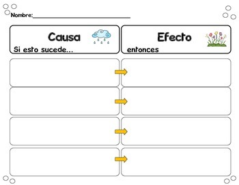 Cause and Effect Matching Game and Worksheets in Spanish