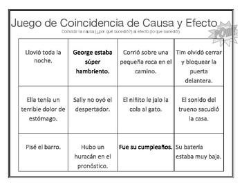 Cause and Effect Matching /Juego de coincidencia de causa y efecto