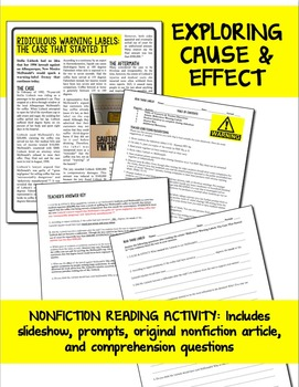 Cause and Effect Nonfiction Activity