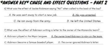 Cause and Effect Nonfiction Passage Activities Using Jackie Robinson Rap Song