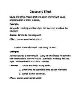 Cause and Effect Notes for Students