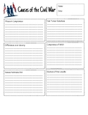 Cause and Effect Organizer for the Civil War