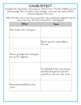 Cause and Effect Passage with Graphic Organizer
