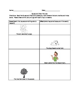 Cause and Effect Picture Worksheet