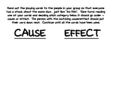 Cause and Effect Playing Cards Activity