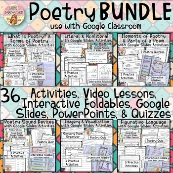 Complete Poetry BUNDLE - Interactive Notebook Lessons, Quizzes, Videos, & MORE