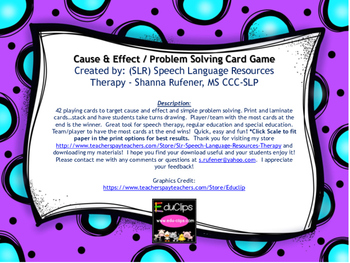 Cause and Effect Problem Solving Card Game