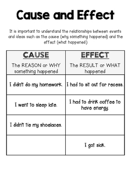 Cause and Effect Reading Journal Resource