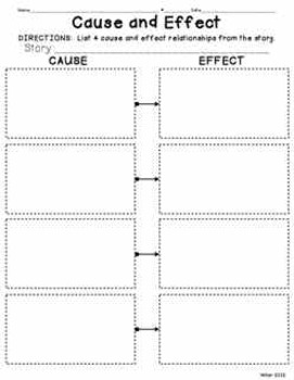 Cause and Effect Reading and Writing Graphic Organizer