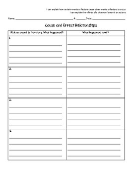 Cause and Effect Relationships - Graphic Organizer