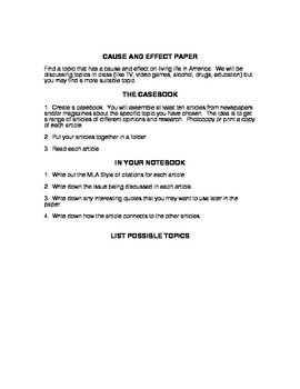 Cause and Effect Research Essay Assignment, Evaluation, and Peer Evaluation