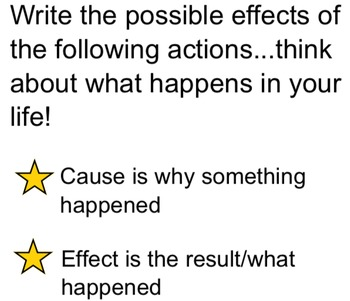 Cause and Effect SMARTboard Practice