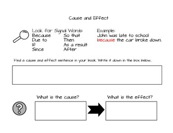 Cause and Effect Sentence Study Worksheet