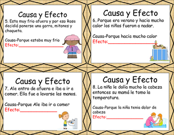 Cause and Effect Spanish Task Cards