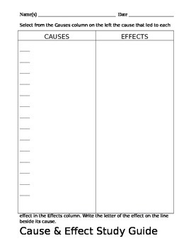 Cause and Effect Study Guide