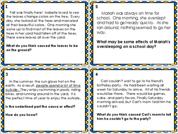 Cause and Effect Task Cards Distance Learning