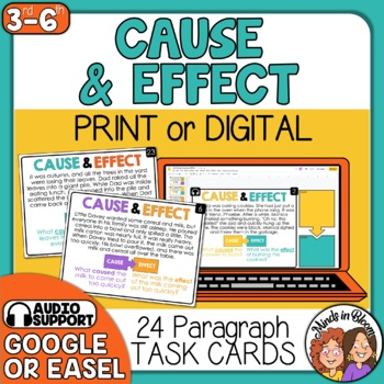 Cause and Effect Task Cards with Short Passages