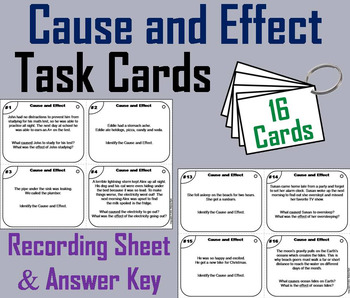 Cause and Effect Task Cards 4th 5th 6th Grade Reading Comprehension Passages