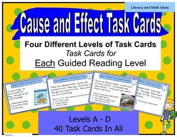 Cause and Effect Task Cards For Each Guided Reading Level (Levels A,B,C,D)