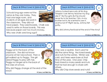 Cause and Effect Task Cards For Each Guided Reading Level (Levels E,F,G,H,I)