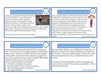 Cause and Effect Task Cards For Each Guided Reading Level (Levels Q and R)