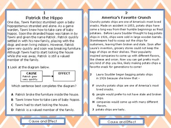 Reading STAAR Test Prep: Cause and Effect Task Cards, Grade 3 TEKS 3.13C