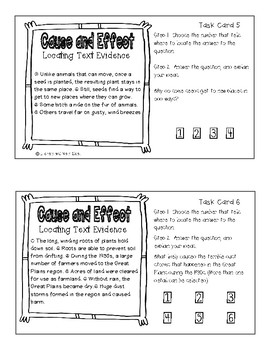 Cause and Effect Task Cards:  Locating Text Evidence