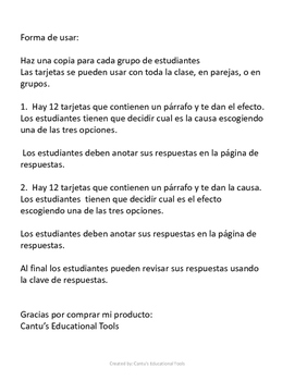Cause and Effect - Causa y Efecto - Task Cards