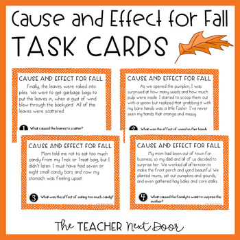 Cause and Effect Task Cards for Fall for 3rd - 5th Grade