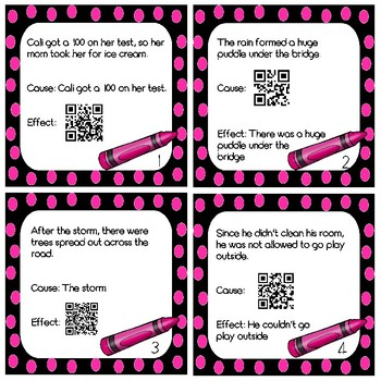 Cause and Effect Task Cards with and without QR Scan Codes