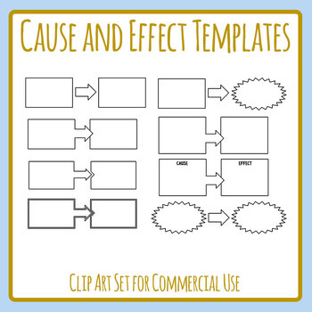 Cause and Effect Templates / Graphic Organizers Clip Art Set for Commercial Use