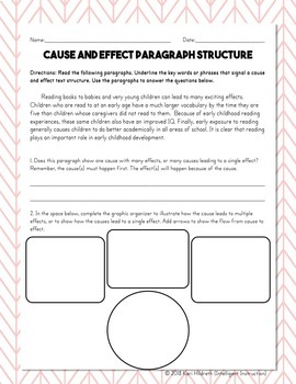 Cause and Effect Text Structure: Paragraph Analysis and Writing Assessment