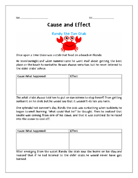"""Cause and Effect  """"The Tan Crab"""""""