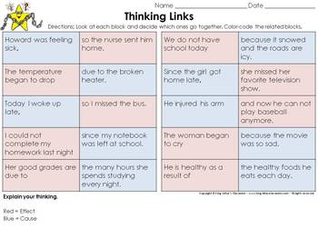 Cause and Effect Thinking Links Activity #1 - King Virtue's Classroom