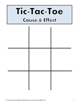 Cause and Effect Game Tic-Tac-Toe
