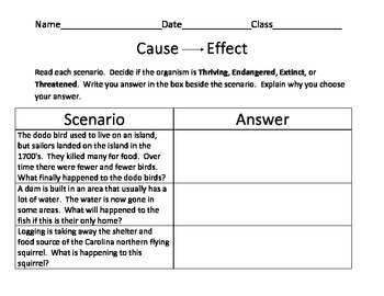 Cause and effect paragraph exercises with answers