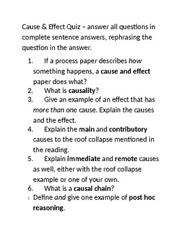 Cause and Effect Writing Quiz