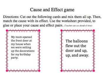 Cause and Effect complete packet! Organizers, Signs, and Activities!