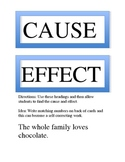 Cause and Effect of Chocolate Card Sort