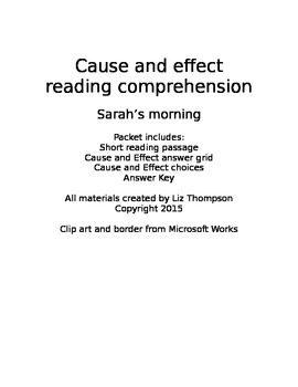 Cause and Effect reading comprehension passage - Sarah's Morning