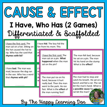 Cause and Effect with Short Vowel Words (Two I Have, Who Has Games)