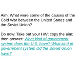 Cause of Cold War between U.S. and USSR